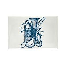 Blue Brass & Sax Rectangle Magnet
