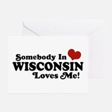 Somebody In Wisconsin Loves Me Greeting Cards (Pk