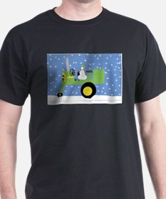 Snowman on Tractor T-Shirt