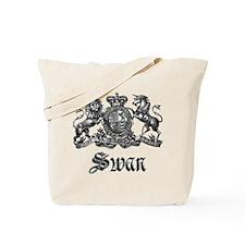 Swan Vintage Crest Family Name Tote Bag