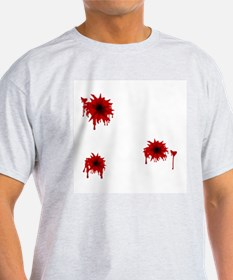 Bloody Bullet Hole Ash Grey T-Shirt
