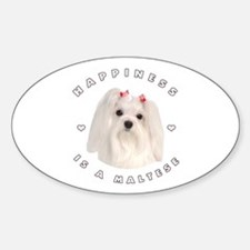 Happiness is a Maltese! Oval Decal