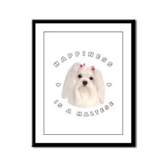 Happiness is a Maltese! Framed Panel Print