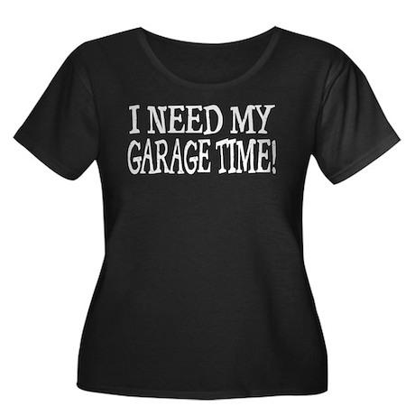 Garage Time Women's Plus Size Scoop Neck Dark T-Sh
