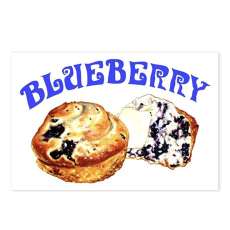 Painted Blueberry Muffins Postcards (Package of 8)