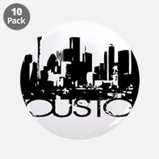 "Houston Texas Downtown Graphi 3.5"" Button (10 pack"