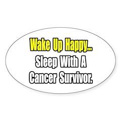 """""""Sleep With Cancer Survivor"""" Oval Sticker"""