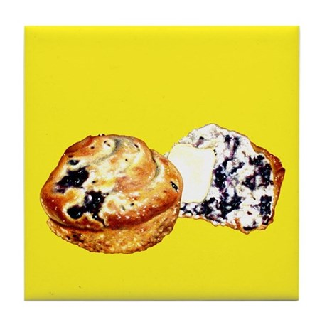 Blueberry Muffins Yellow Tile Coaster
