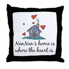 NanNan's Home is Where the Heart is Throw Pillow