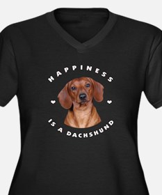 Happiness is a Dachshund! Women's Plus Size V-Neck