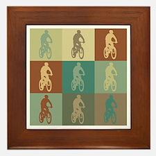 Mountain Biking Pop Art Framed Tile