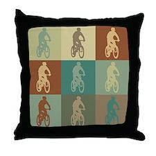 Mountain Biking Pop Art Throw Pillow