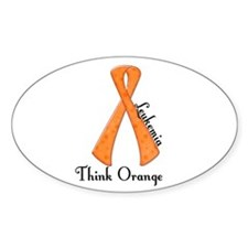 Awareness Ribbon THINK ORANGE Oval Decal