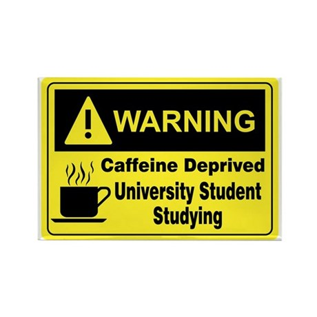 Warning University Student Rectangle Magnet (100 p