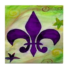 Purple Fleur de lis Tile Coaster