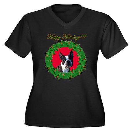 Boston Terrier Women's Plus Size V-Neck Dark T-Shi