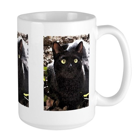 Black Cats Rule Watercolor Large Mug