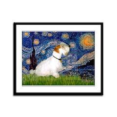 Starry Night/Sealyham L1 Framed Panel Print