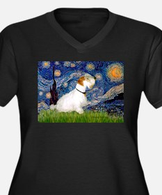 Starry Night/Sealyham L1 Women's Plus Size V-Neck