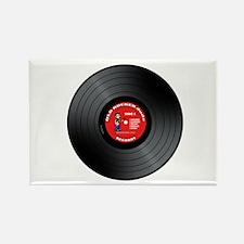 Old Rocker Dude Vinyl Record Rectangle Magnet
