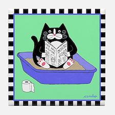 Tuxedo Cat in Litterbox (Blue) - Art Tile Coaster