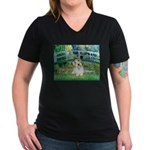 Bridge/Sealyham L2 Women's V-Neck Dark T-Shirt