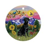 Black Lab in Mountain Country Ornament (Round)