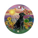 Black Labrador + Autumn Sun Ornament (Round)