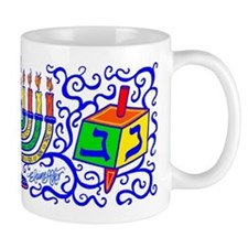 Dreidles and Menorah Hanukkah Mug