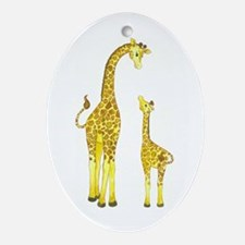 Mom and Baby Giraffe Oval Ornament