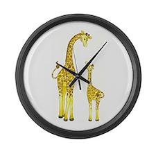 Mom and Baby Giraffe Large Wall Clock