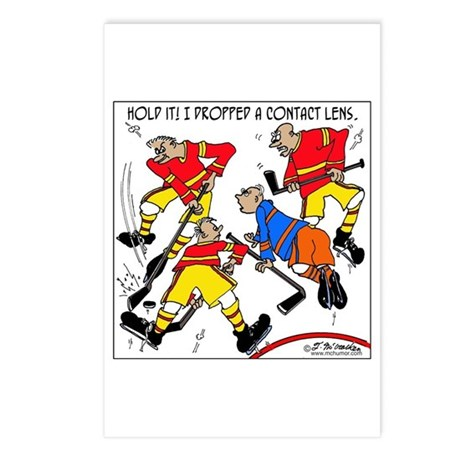 Playing Hockey W/ Contact Lenses Postcards (Packag