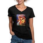 Angel/Sealyham L1 Women's V-Neck Dark T-Shirt