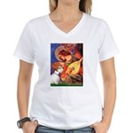 Angel/Sealyham L1 Women's V-Neck T-Shirt