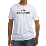 I Love my clarinets Fitted T-Shirt