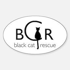 Black Cat Rescue Sticker (Oval)