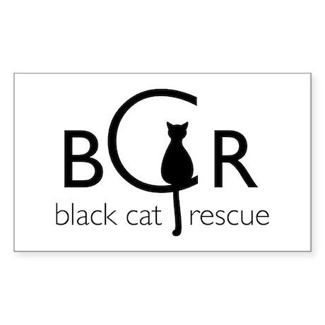 Black Cat Rescue Sticker (Rectangle)