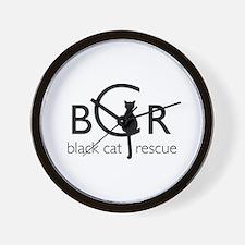 Black Cat Rescue Wall Clock