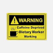 Caffeine Warning Dietary Worker Rectangle Magnet
