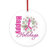 X-Mas PinkRibbon Ornament (Round)