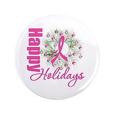 "X-Mas PinkRibbon 3.5"" Button (100 pack)"