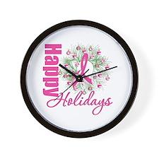 X-Mas PinkRibbon Wall Clock