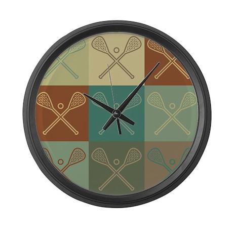 Lacrosse Pop Art Large Wall Clock