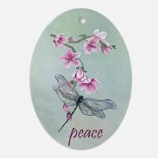 Cherry Blossoms and Dragonfly Oval Ornament