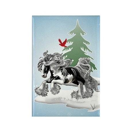 Gypsy Vanner Winter Rectangle Magnet