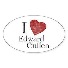 I Love Edward Cullen Oval Decal