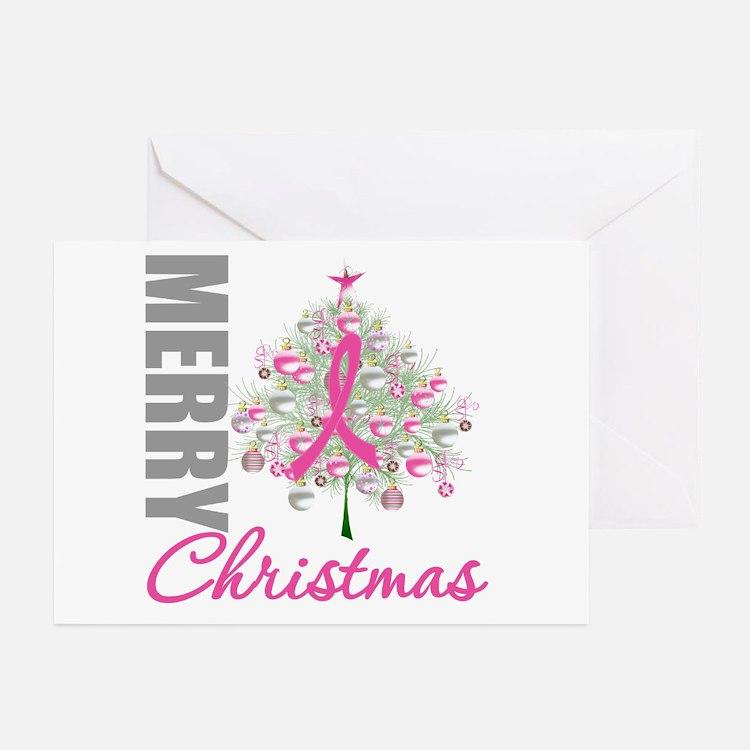 PinkRibbon X-MasTree Greeting Cards (Pk of 10)