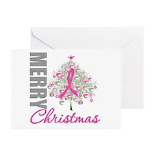 PinkRibbon X-MasTree Greeting Cards (Pk of 20)