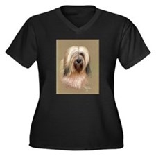 Tibetan Terrier Women's Plus Size V-Neck Dark T-Sh