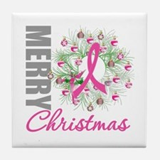 PinkRibbonWreath Tile Coaster